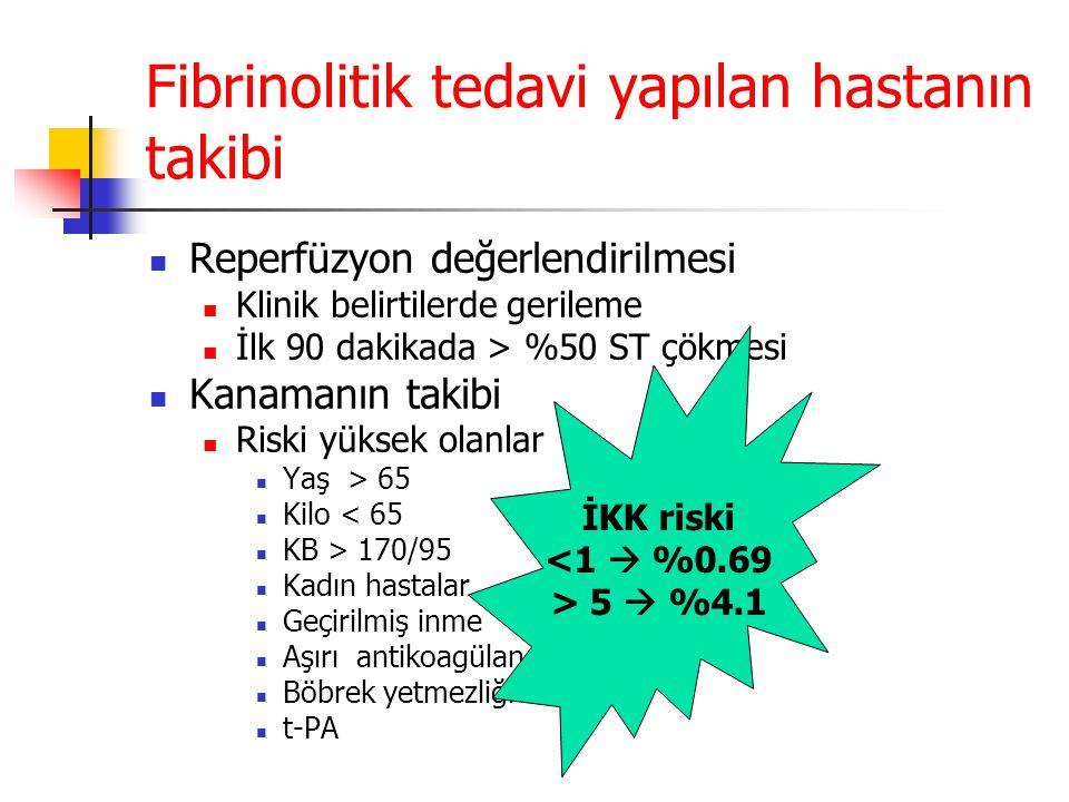 Fibrinolitik tedavi yapılan hastanın takibi