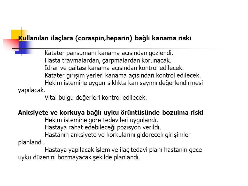 Kullanılan ilaçlara (coraspin,heparin) bağlı kanama riski