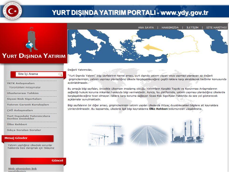 YURT DIŞINDA YATIRIM PORTALI - www.ydy.gov.tr