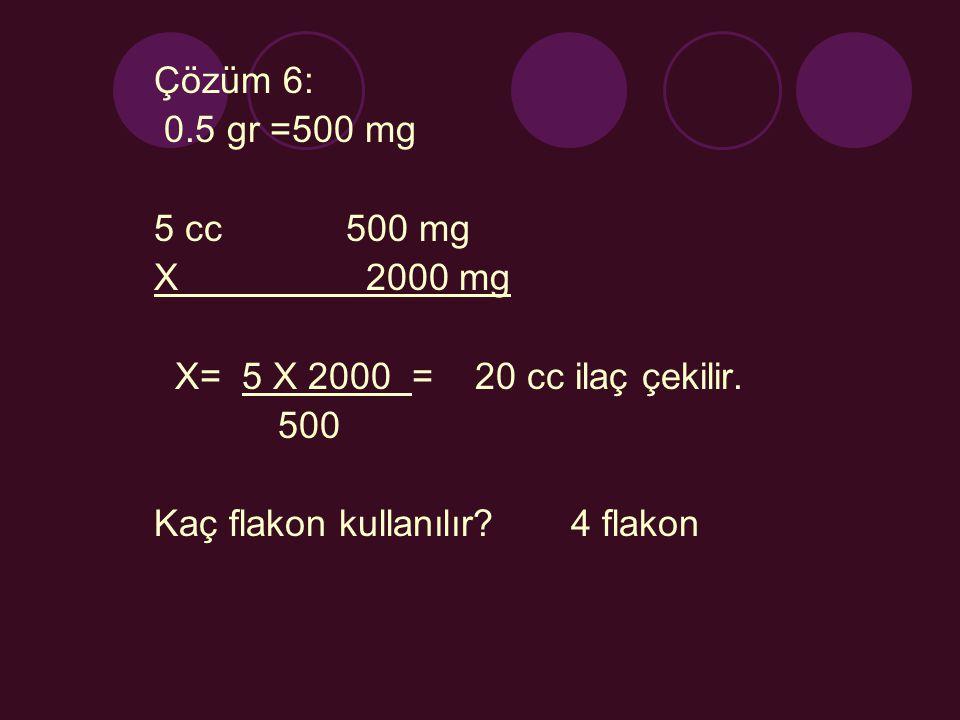 Çözüm 6: 0.5 gr =500 mg. 5 cc 500 mg. X 2000 mg. X= 5 X 2000 = 20 cc ilaç çekilir.