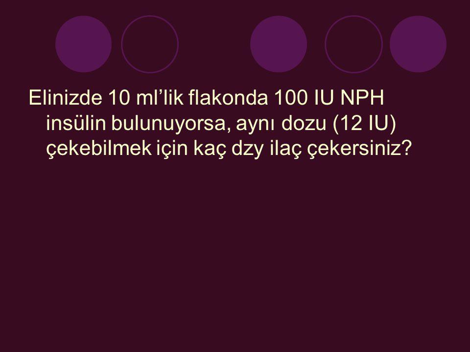 Elinizde 10 ml'lik flakonda 100 IU NPH insülin bulunuyorsa, aynı dozu (12 IU) çekebilmek için kaç dzy ilaç çekersiniz