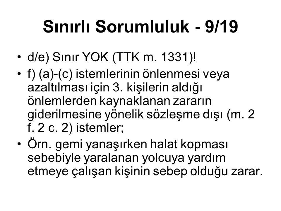Sınırlı Sorumluluk - 9/19 d/e) Sınır YOK (TTK m. 1331)!