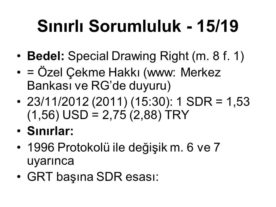 Sınırlı Sorumluluk - 15/19 Bedel: Special Drawing Right (m. 8 f. 1)