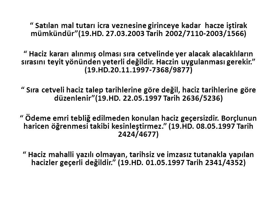 Satılan mal tutarı icra veznesine girinceye kadar hacze iştirak mümkündür (19.HD. 27.03.2003 Tarih 2002/7110-2003/1566)