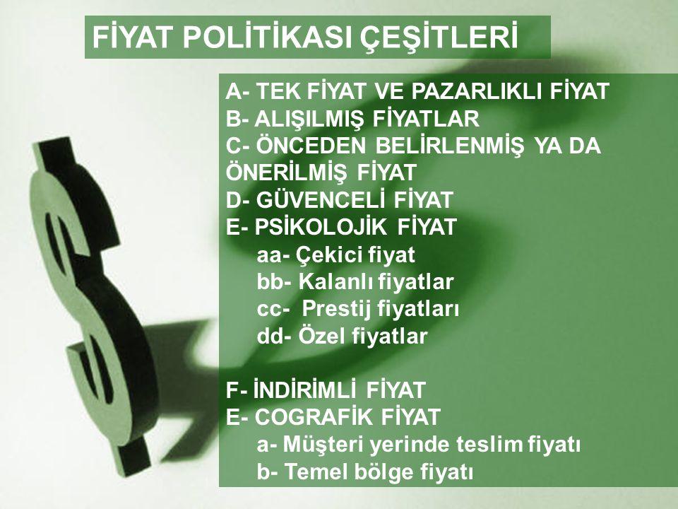 FİYAT POLİTİKASI ÇEŞİTLERİ