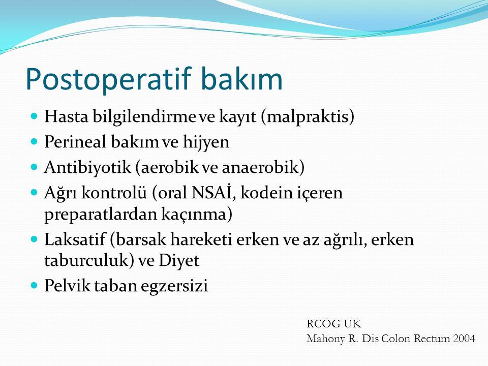Postoperatif bakım Hasta bilgilendirme ve kayıt (malpraktis)