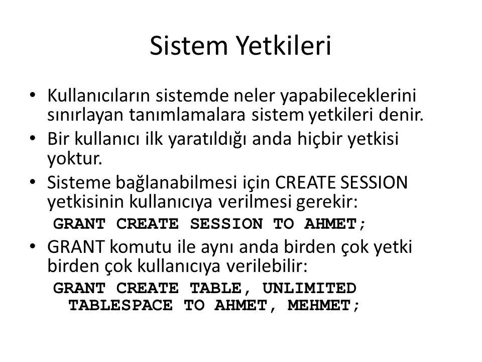 Sistem Yetkileri Kullanıcıların sistemde neler yapabileceklerini sınırlayan tanımlamalara sistem yetkileri denir.