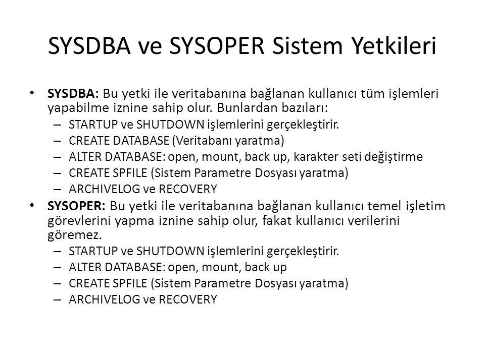 SYSDBA ve SYSOPER Sistem Yetkileri