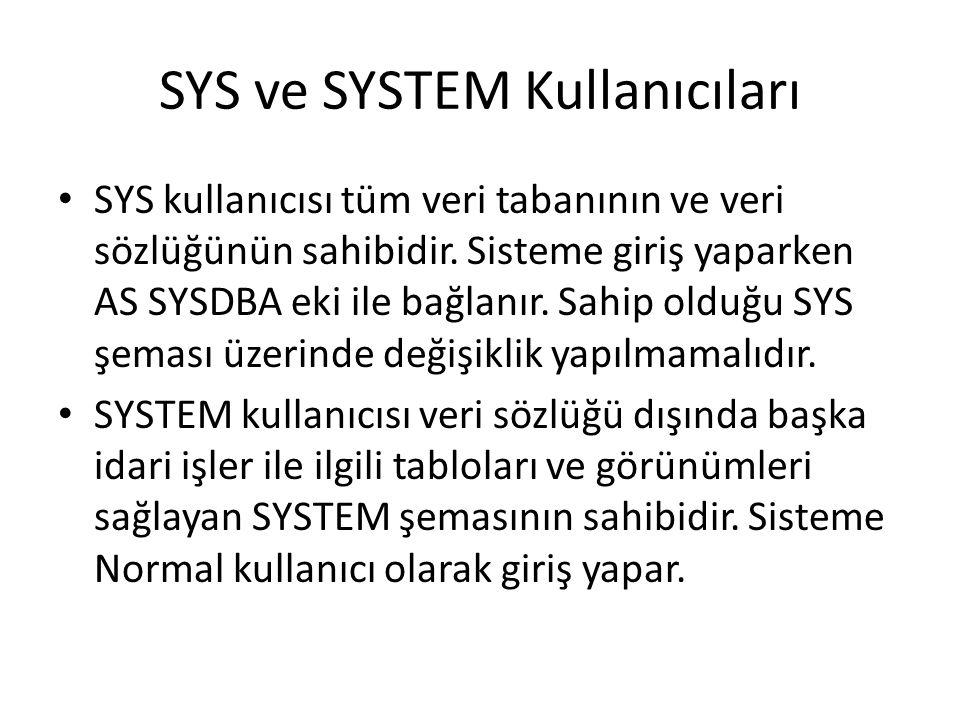 SYS ve SYSTEM Kullanıcıları