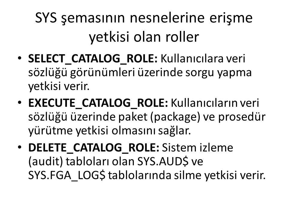 SYS şemasının nesnelerine erişme yetkisi olan roller