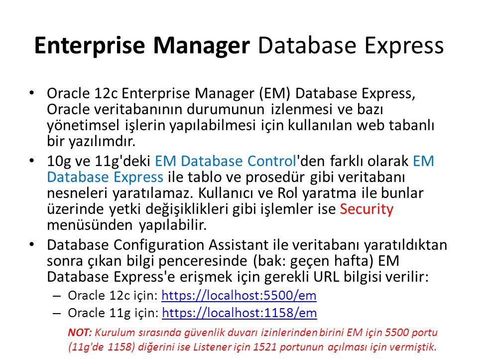 Enterprise Manager Database Express