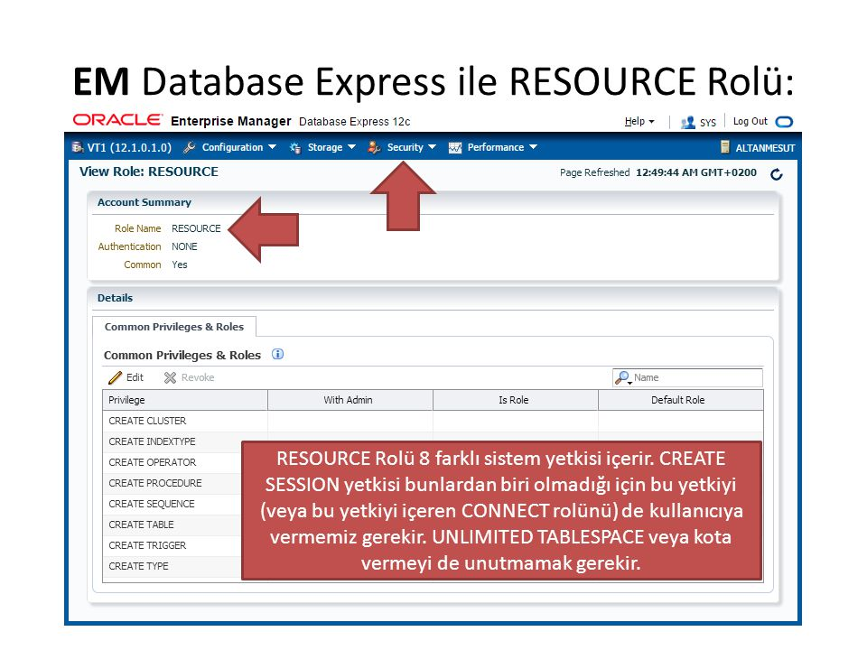 EM Database Express ile RESOURCE Rolü: