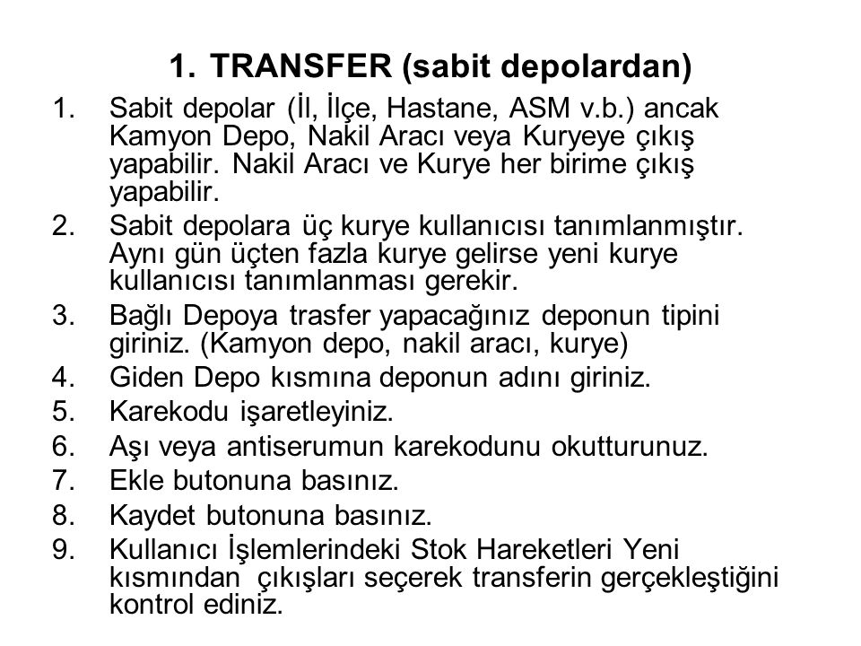 1. TRANSFER (sabit depolardan)