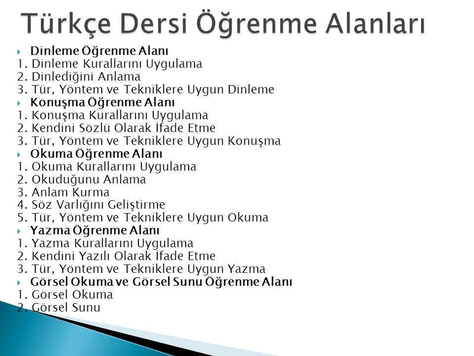 Türkçe Dersi Öğrenme Alanları