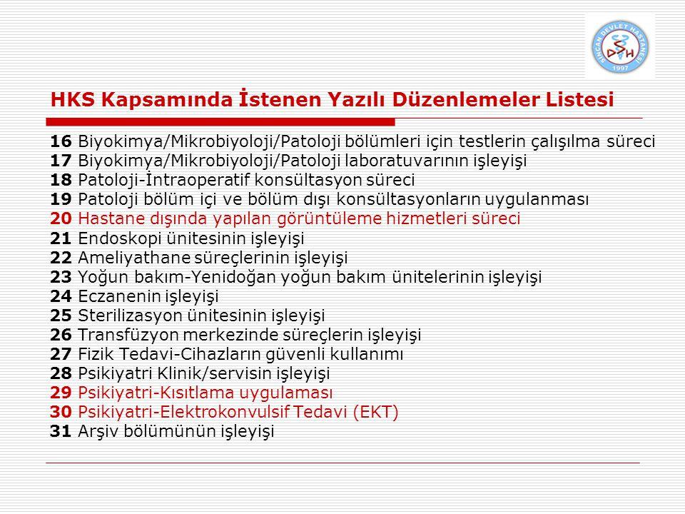 HKS Kapsamında İstenen Yazılı Düzenlemeler Listesi