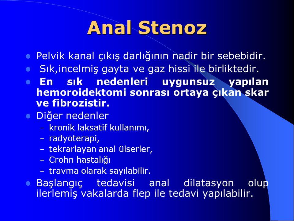 Anal Stenoz Pelvik kanal çıkış darlığının nadir bir sebebidir.
