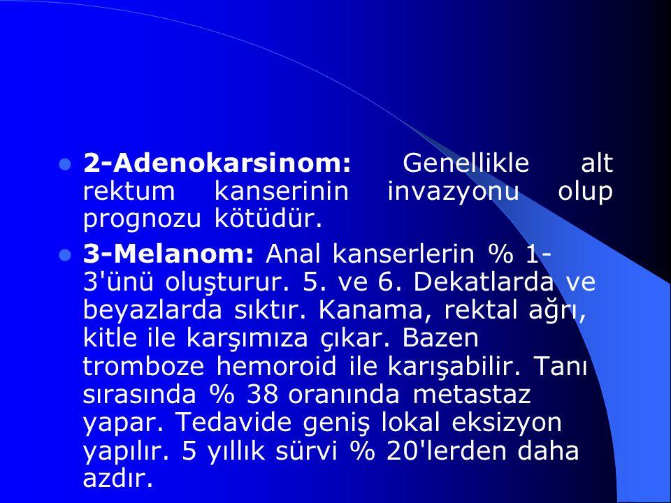 2-Adenokarsinom: Genellikle alt rektum kanserinin invazyonu olup prognozu kötüdür.