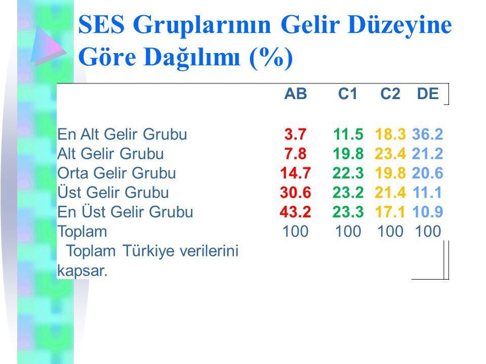 SES Gruplarının Gelir Düzeyine Göre Dağılımı (%)