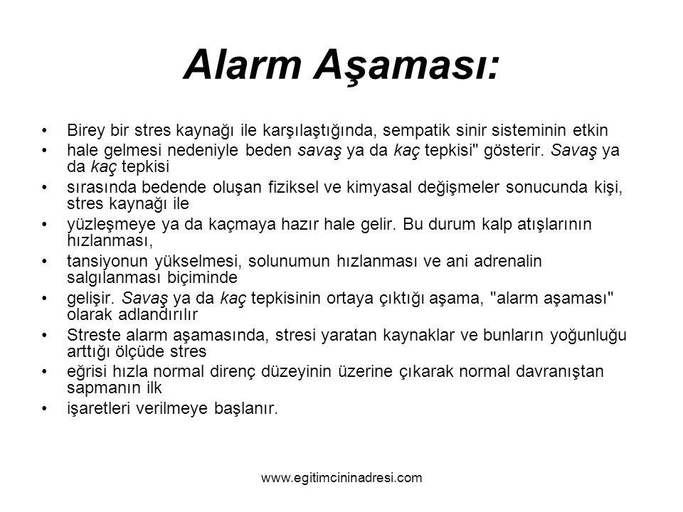 Alarm Aşaması: Birey bir stres kaynağı ile karşılaştığında, sempatik sinir sisteminin etkin.