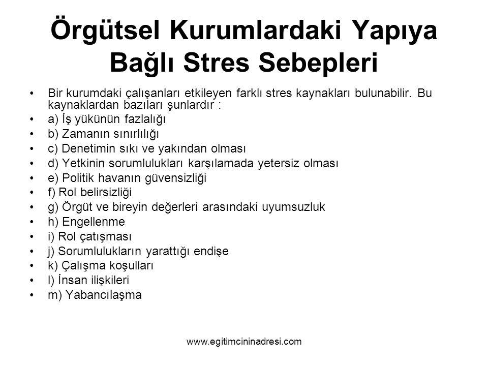 Örgütsel Kurumlardaki Yapıya Bağlı Stres Sebepleri