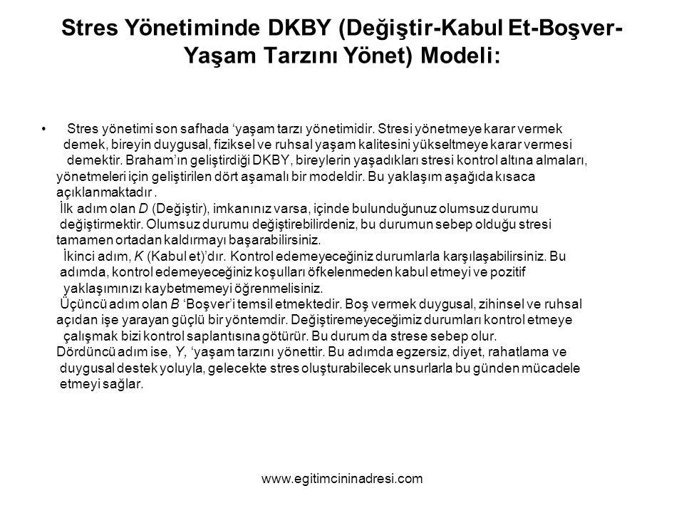 Stres Yönetiminde DKBY (Değiştir-Kabul Et-Boşver-Yaşam Tarzını Yönet) Modeli: