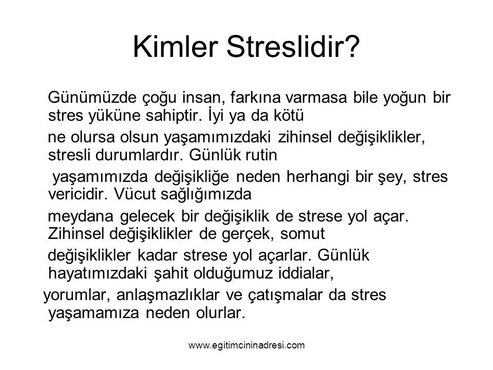 Kimler Streslidir Günümüzde çoğu insan, farkına varmasa bile yoğun bir stres yüküne sahiptir. İyi ya da kötü.