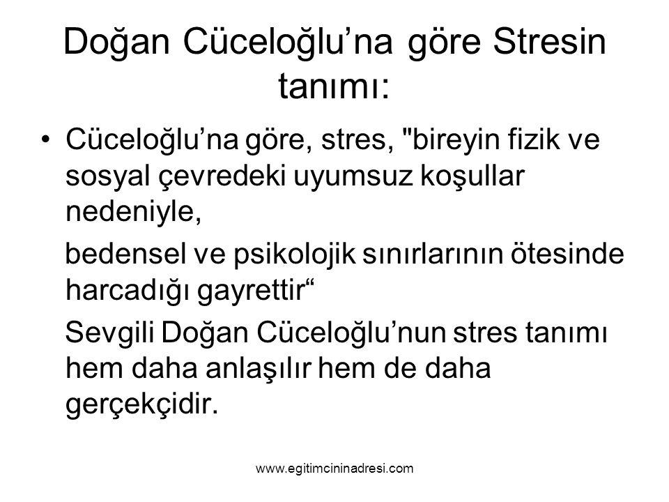 Doğan Cüceloğlu'na göre Stresin tanımı: