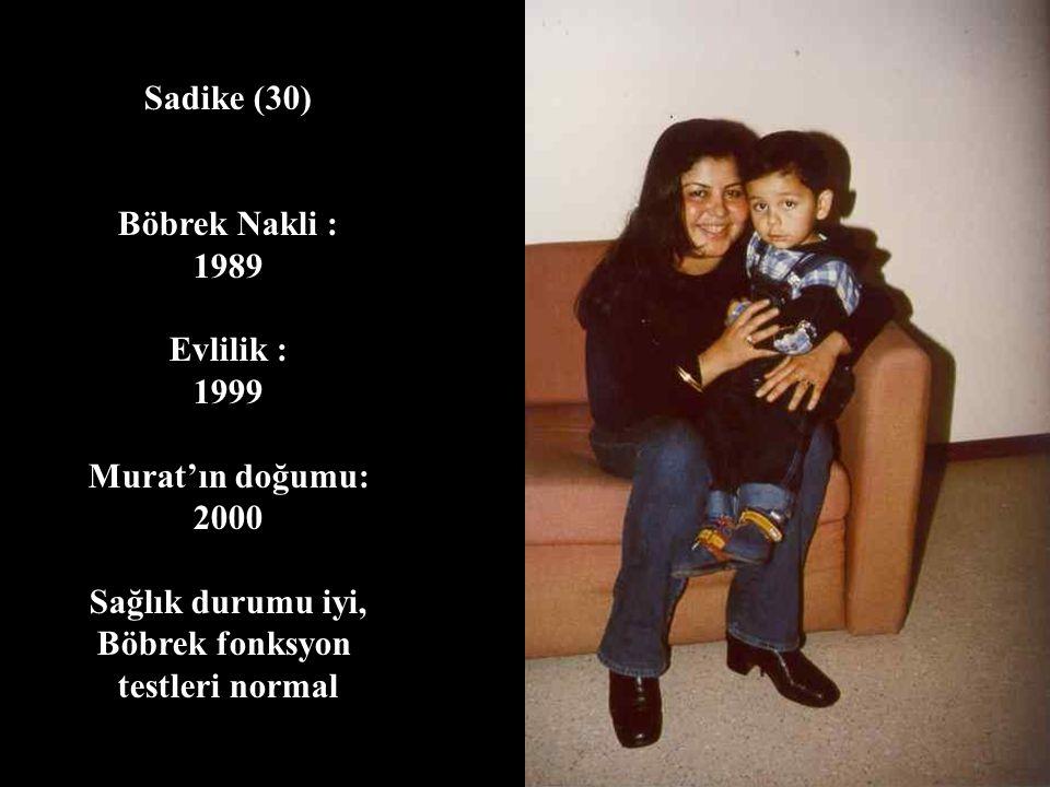 Sadike (30) Böbrek Nakli : 1989. Evlilik : 1999. Murat'ın doğumu: 2000. Sağlık durumu iyi, Böbrek fonksyon.