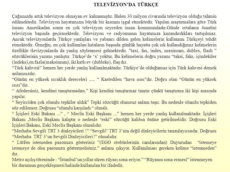 TELEVİZYON'DA TÜRKÇE