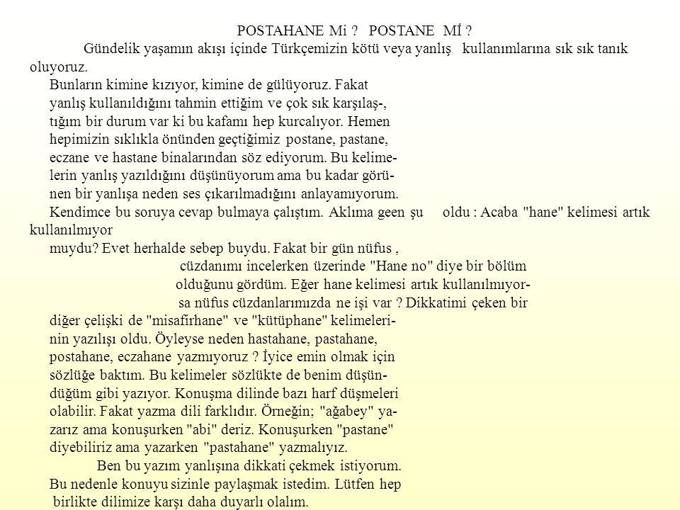 POSTAHANE Mi POSTANE Mİ