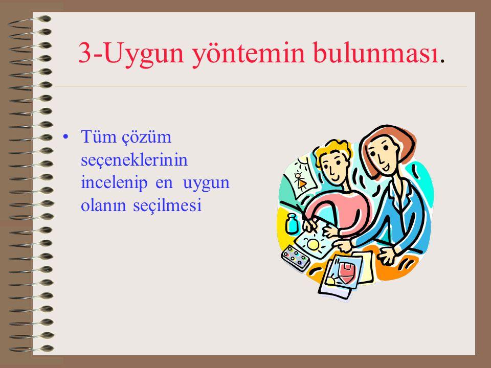 3-Uygun yöntemin bulunması.