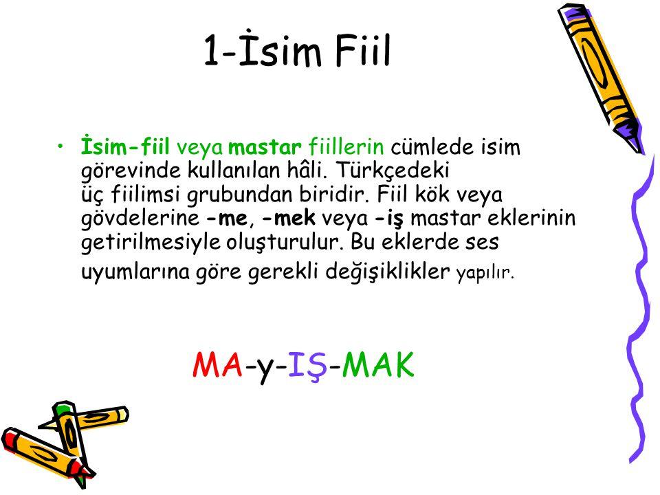 1-İsim Fiil MA-y-IŞ-MAK