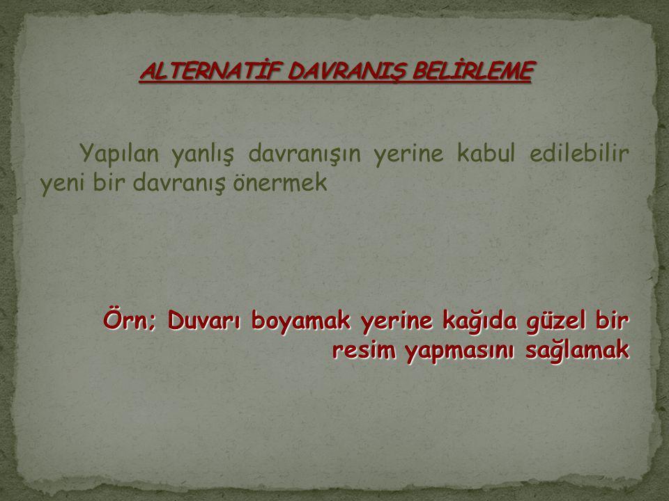 ALTERNATİF DAVRANIŞ BELİRLEME
