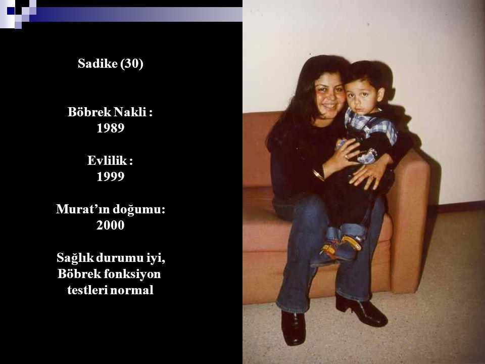 Sadike (30) Böbrek Nakli : 1989. Evlilik : 1999. Murat'ın doğumu: 2000. Sağlık durumu iyi, Böbrek fonksiyon.
