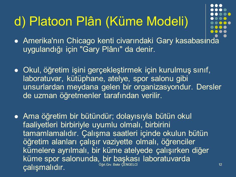 d) Platoon Plân (Küme Modeli)