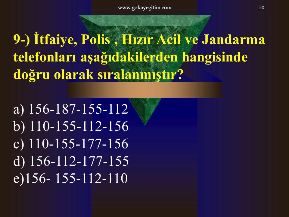 www.gokayegitim.com 9-) İtfaiye, Polis , Hızır Acil ve Jandarma telefonları aşağıdakilerden hangisinde doğru olarak sıralanmıştır