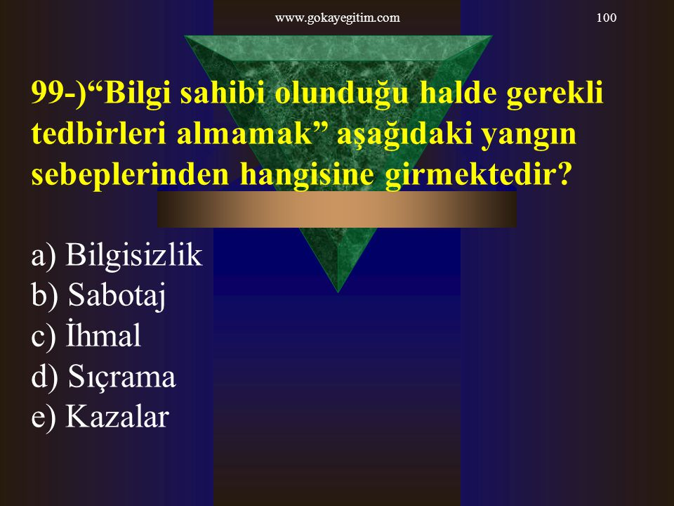 www.gokayegitim.com 99-) Bilgi sahibi olunduğu halde gerekli tedbirleri almamak aşağıdaki yangın sebeplerinden hangisine girmektedir