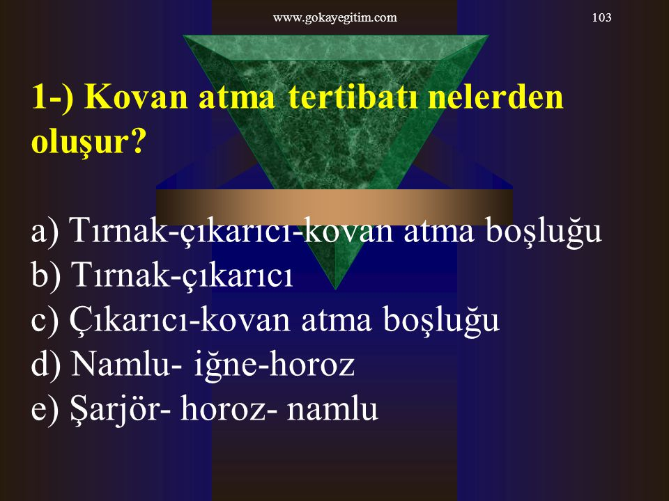 1-) Kovan atma tertibatı nelerden oluşur
