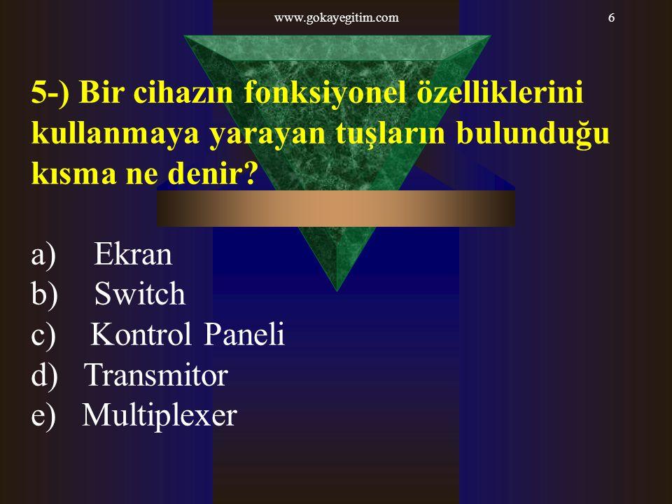 www.gokayegitim.com 5-) Bir cihazın fonksiyonel özelliklerini kullanmaya yarayan tuşların bulunduğu kısma ne denir