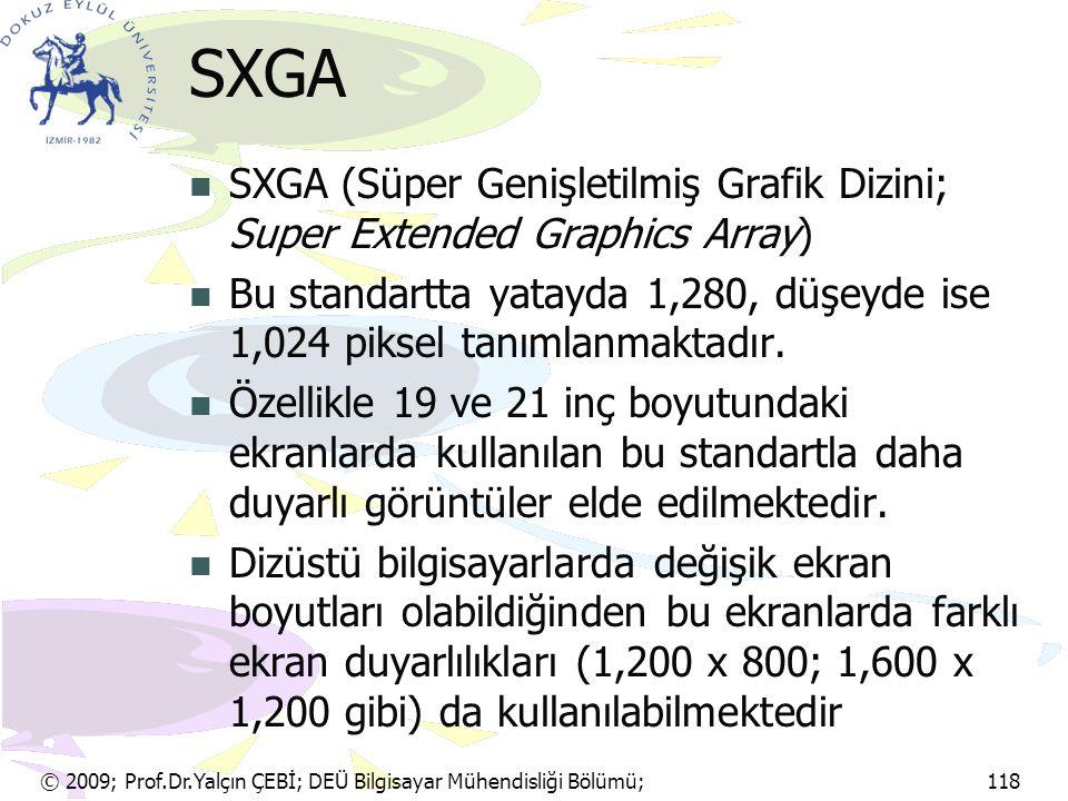 SXGA SXGA (Süper Genişletilmiş Grafik Dizini; Super Extended Graphics Array) Bu standartta yatayda 1,280, düşeyde ise 1,024 piksel tanımlanmaktadır.