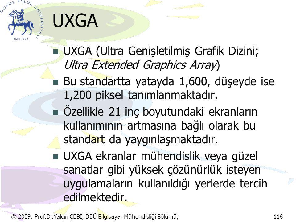 UXGA UXGA (Ultra Genişletilmiş Grafik Dizini; Ultra Extended Graphics Array) Bu standartta yatayda 1,600, düşeyde ise 1,200 piksel tanımlanmaktadır.