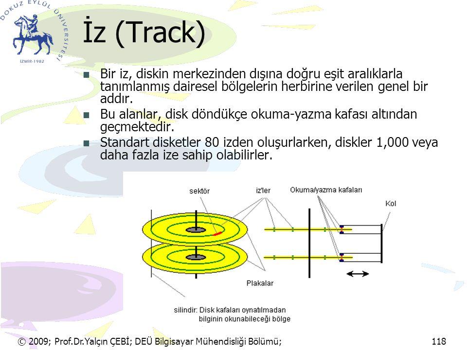 İz (Track) Bir iz, diskin merkezinden dışına doğru eşit aralıklarla tanımlanmış dairesel bölgelerin herbirine verilen genel bir addır.