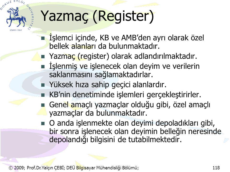 Yazmaç (Register) İşlemci içinde, KB ve AMB'den ayrı olarak özel bellek alanları da bulunmaktadır. Yazmaç (register) olarak adlandırılmaktadır.