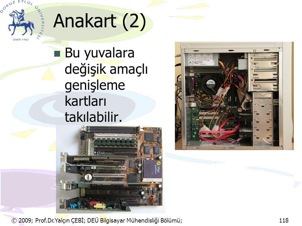 Anakart (2) Bu yuvalara değişik amaçlı genişleme kartları takılabilir.