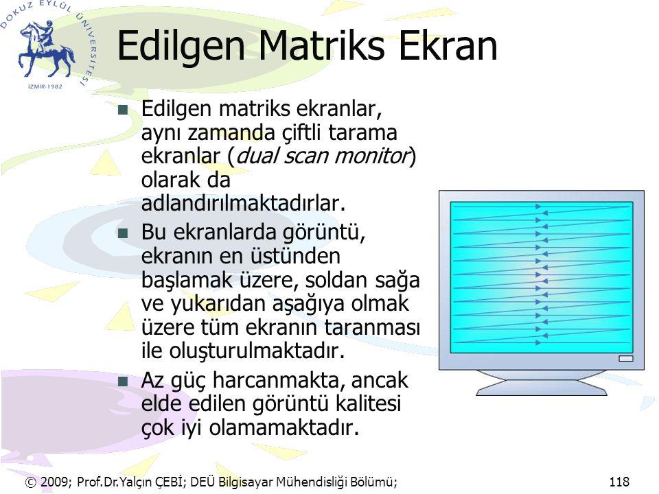 Edilgen Matriks Ekran Edilgen matriks ekranlar, aynı zamanda çiftli tarama ekranlar (dual scan monitor) olarak da adlandırılmaktadırlar.