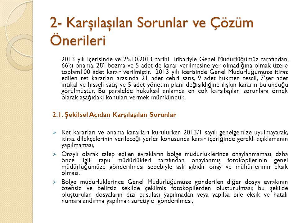 2- Karşılaşılan Sorunlar ve Çözüm Önerileri
