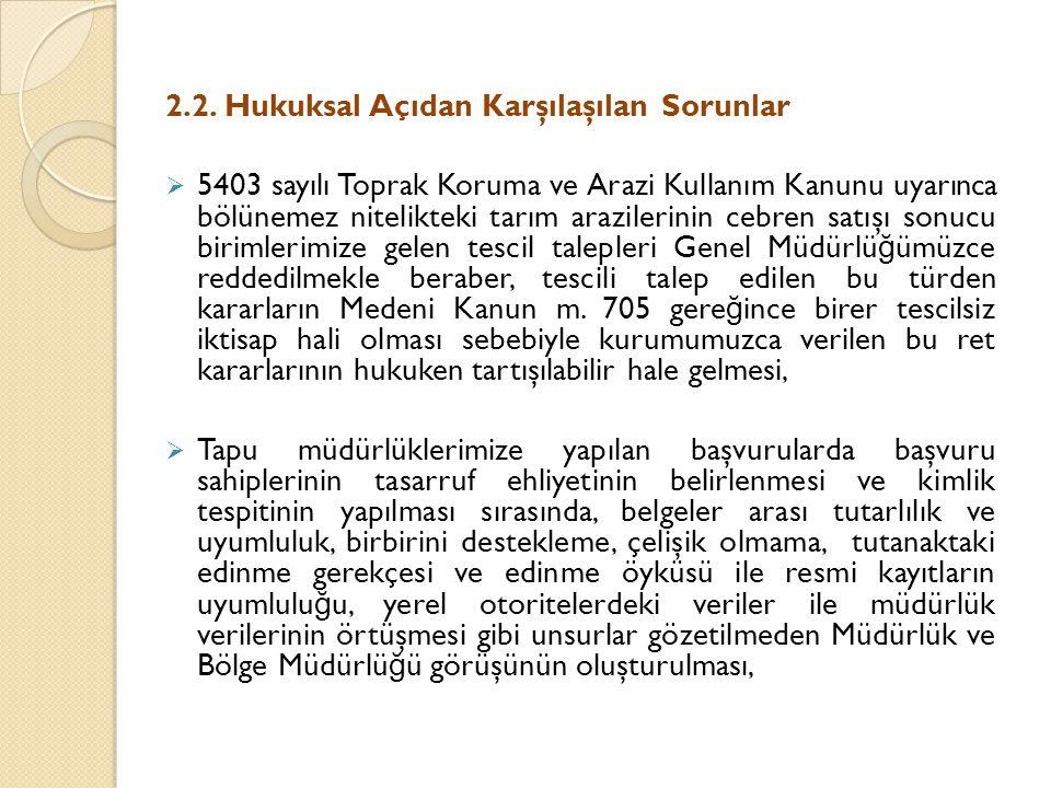 2.2. Hukuksal Açıdan Karşılaşılan Sorunlar