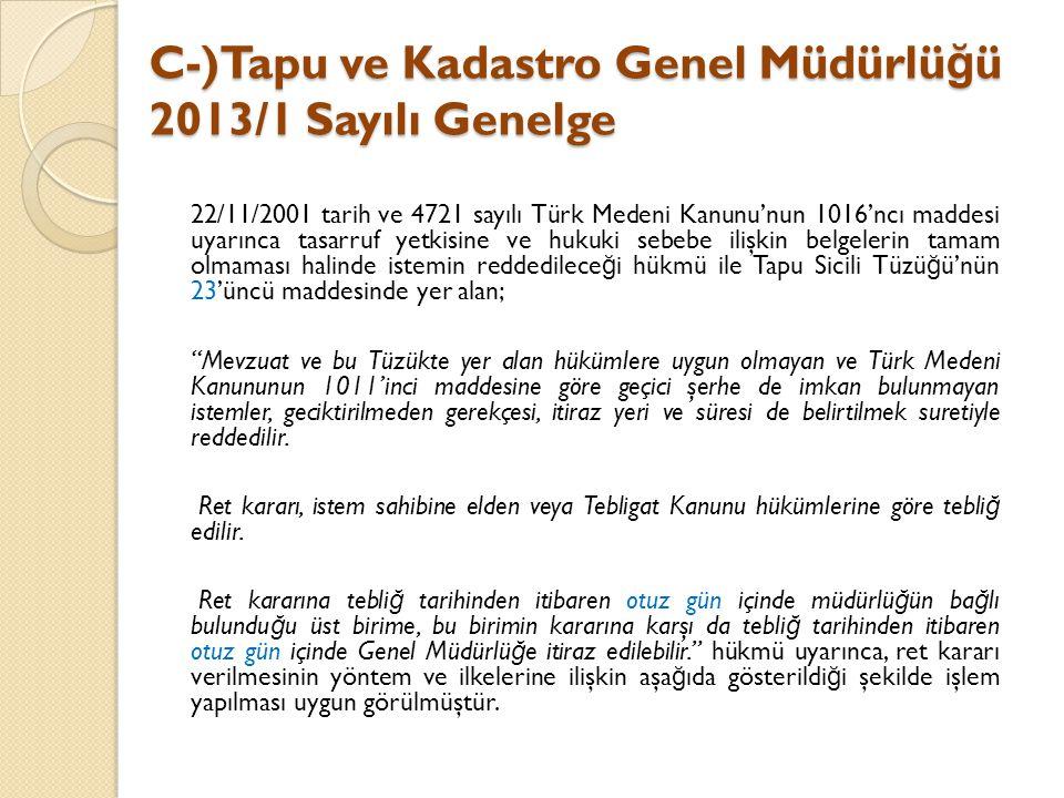 C-)Tapu ve Kadastro Genel Müdürlüğü 2013/1 Sayılı Genelge