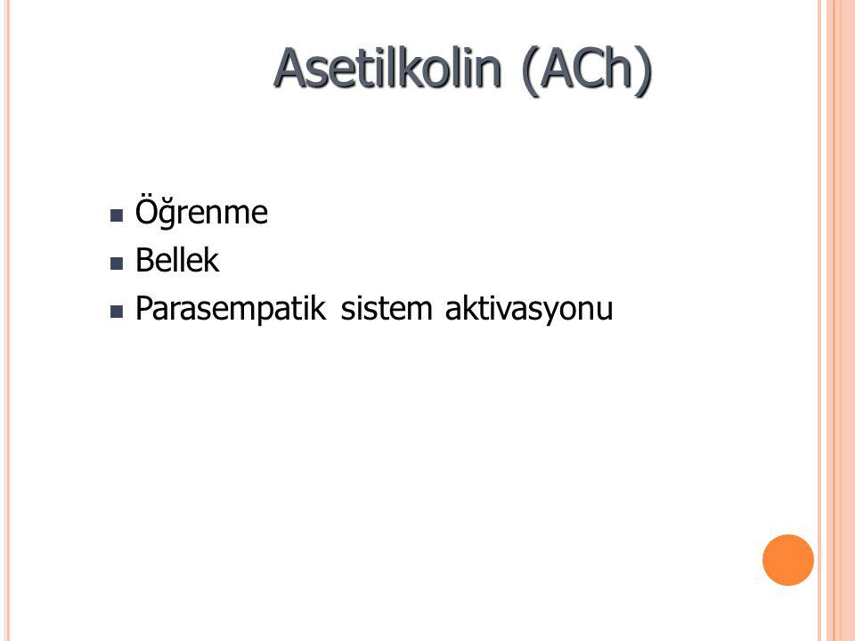 Asetilkolin (ACh) Öğrenme Bellek Parasempatik sistem aktivasyonu