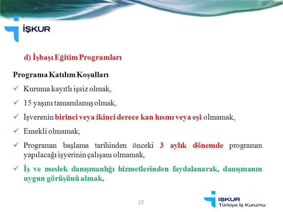 d) İşbaşı Eğitim Programları